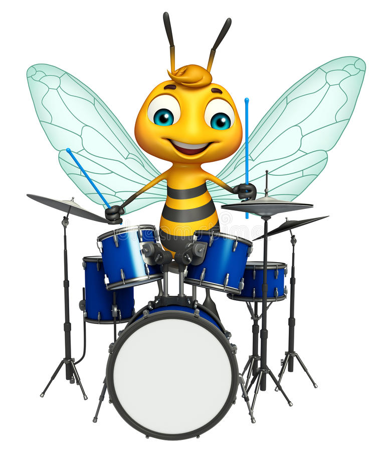 Bee cartoon character with drum royalty free illustration
