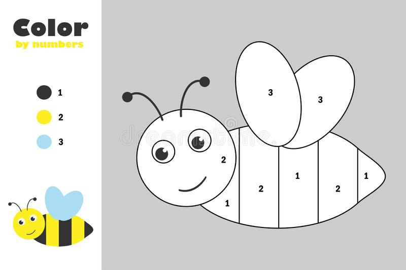 Bee in cartoon style, color by number, education paper game for the development of children, coloring page, kids preschool. Activity, printable worksheet stock illustration