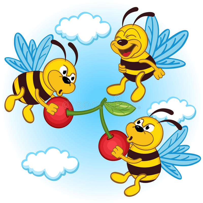 Bee and cherry vector illustration