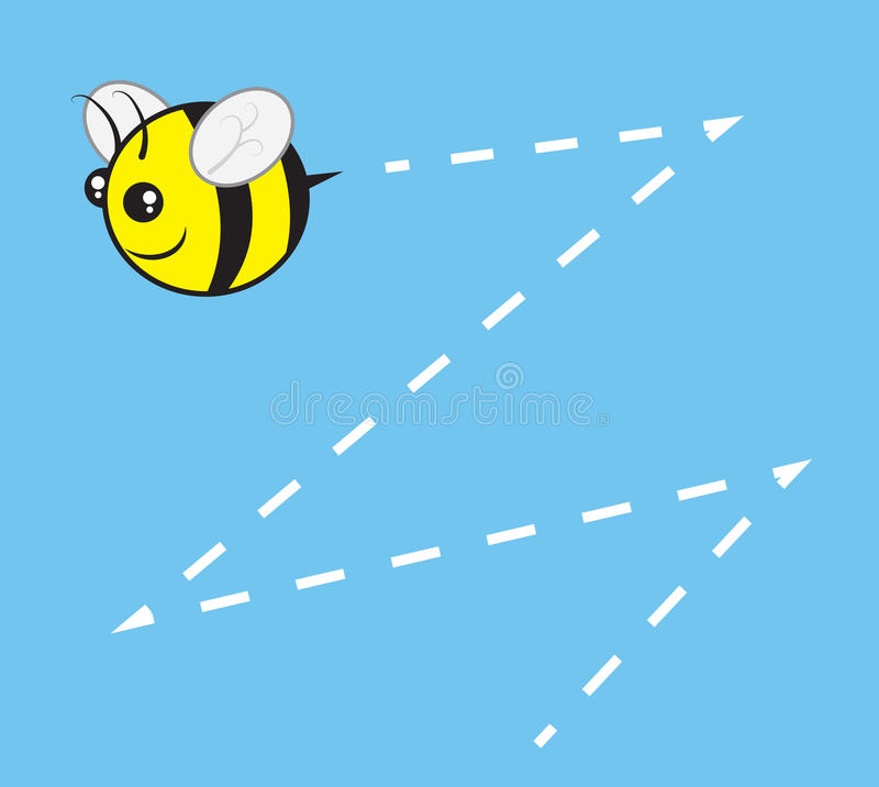 Bee Chubby Buzz. Chubby bee character flying with buzz trail stock illustration