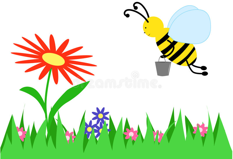 The bee collects honey royalty free illustration