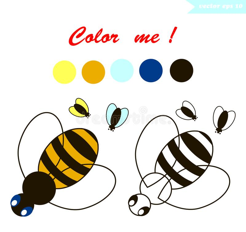 Bee coloring page royalty free illustration