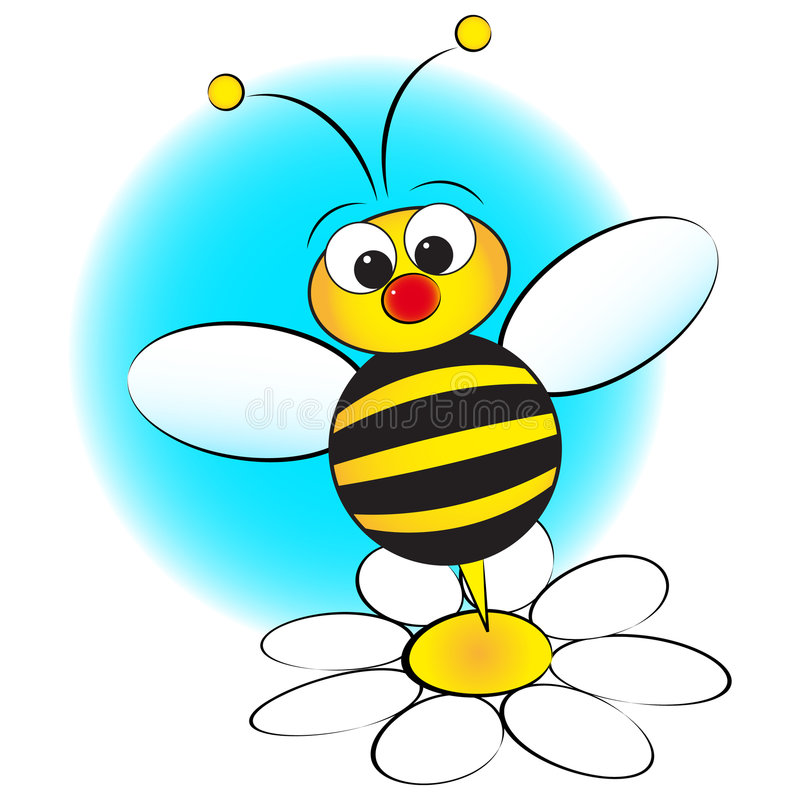 Bee and daisy - Kid Illustration vector illustration