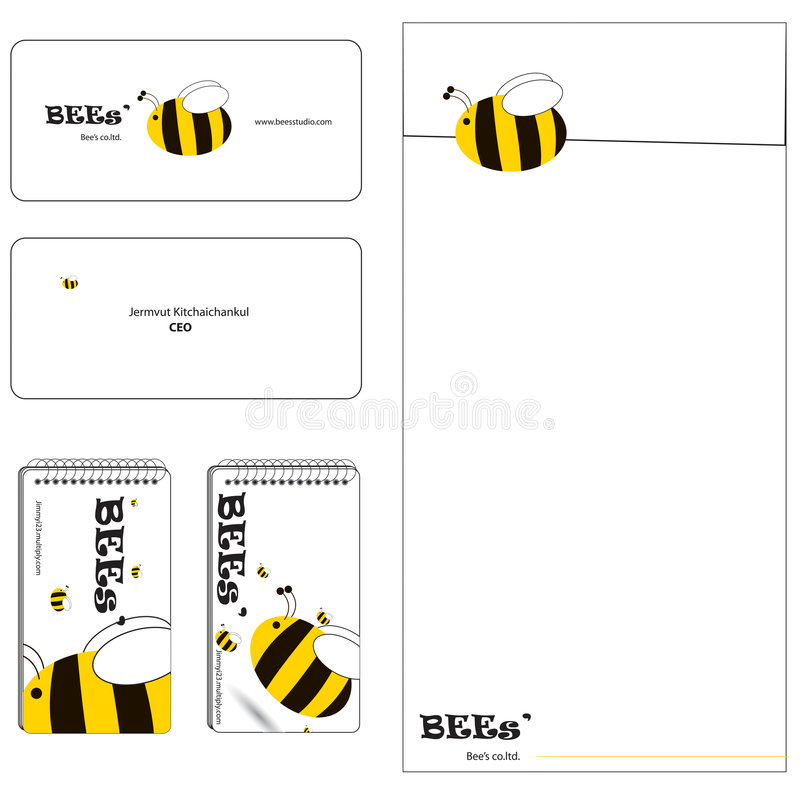Download Bee family stationery set stock vector. Image of layout - 6061719