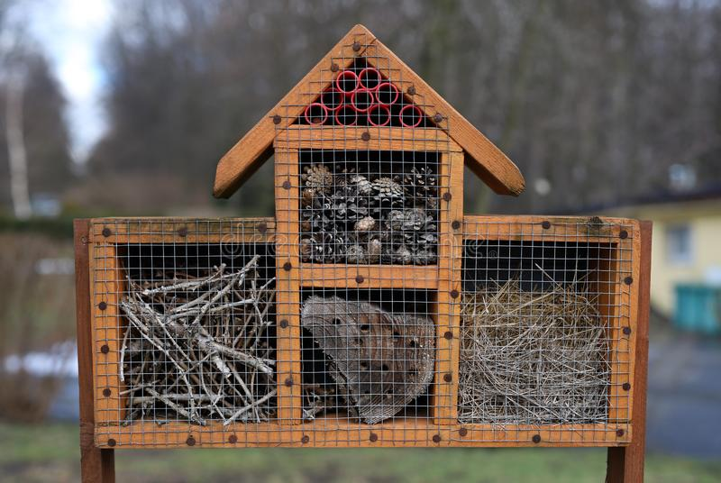 Wooden feeder for bees. Bee feeder in the shape of a house with a visor with various assortment stock images