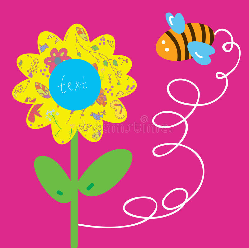 Bee and flower greeting baby card royalty free illustration