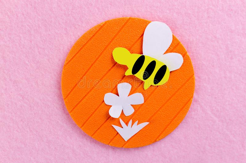 Bee on the flower. Made of paper royalty free stock photos
