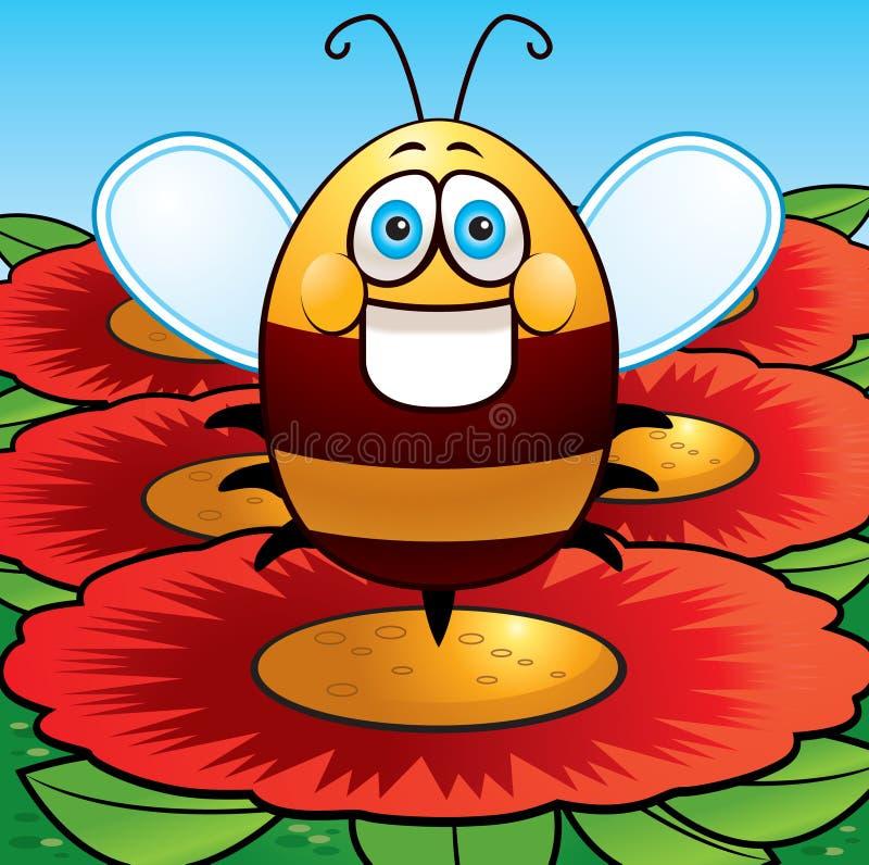 Bee & Flowers stock illustration