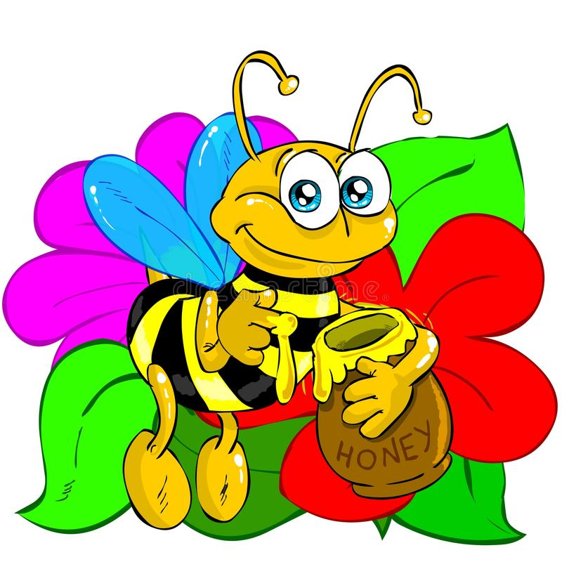 Bee with flowers. Funny pic of a bee holding a cup of honey. Hi-res image, perfect for illustrated stories, web based design, banners, kindergarden, t-shirt and stock illustration