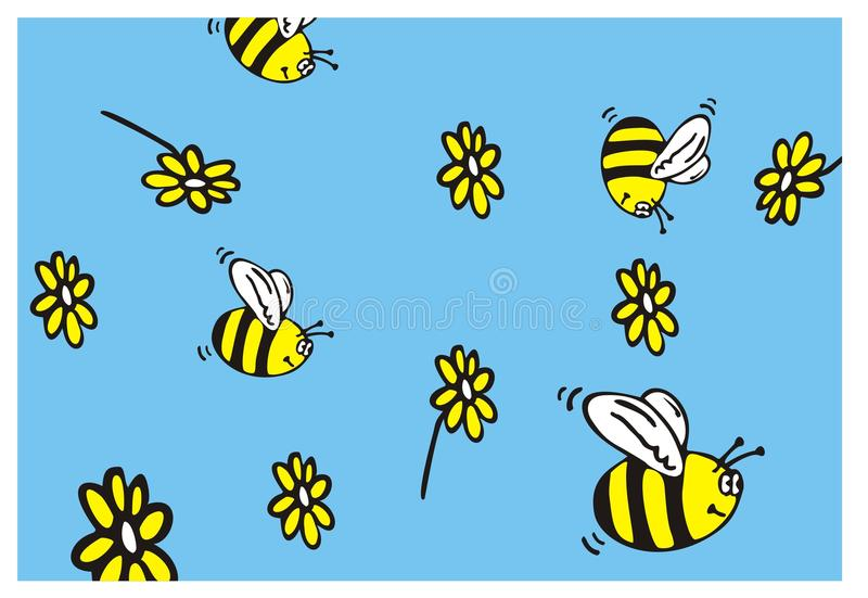 Bee and flowers daisywheel background vector illustration