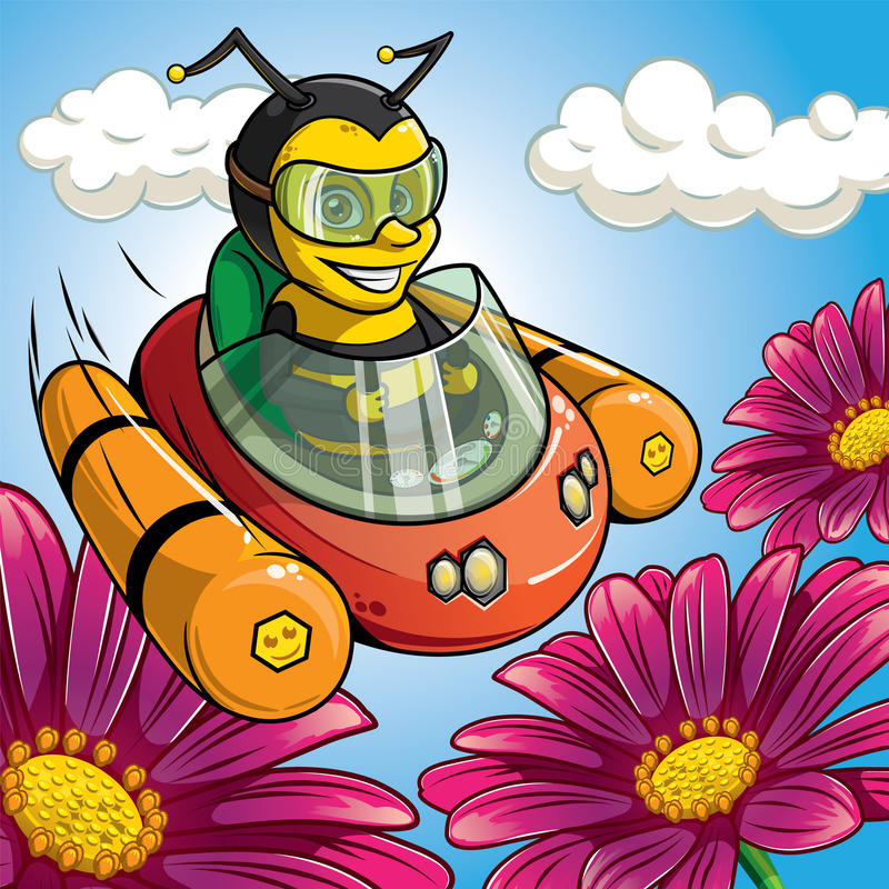 A bee is flying on the flying car to flowers. stock images