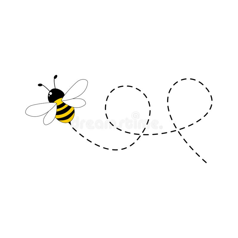 Free Bee Flying On A Dotted Route Isolated On The White Background Royalty Free Stock Photo - 171062635