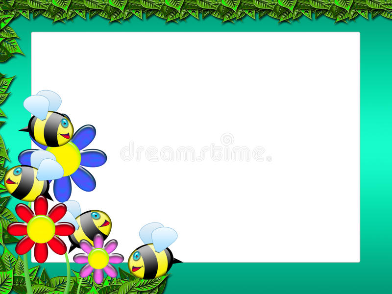 Bee frame - floral scrapbook royalty free illustration