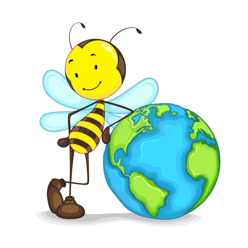 Bee with a globe stock illustration
