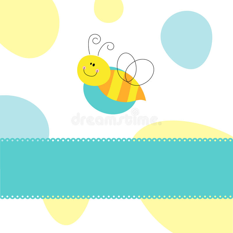 Bee greeting card vector illustration