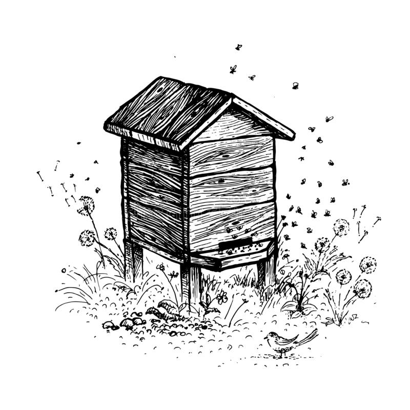 Free Bee Hive Drawing. A Collection Of Farm Products Stock Photos - 209005493