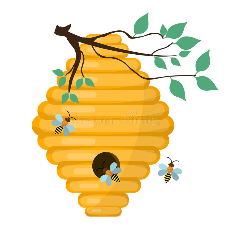 bee hive swarm icon flat style isolated on white background rh dreamstime com bee and beehive clipart honey bee hive clipart