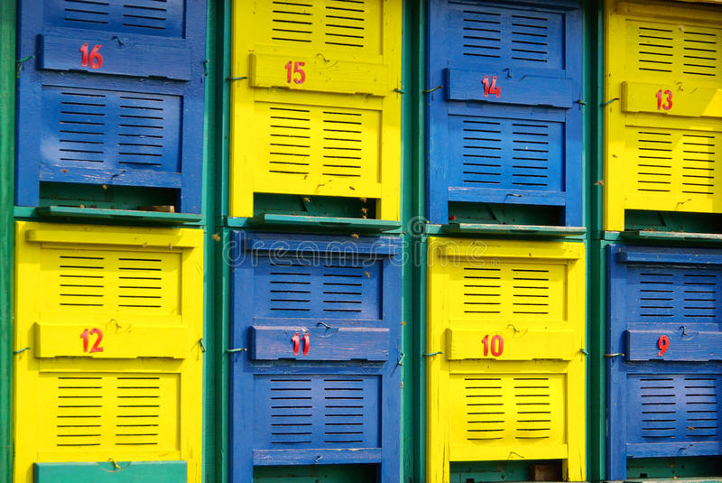 Bee hives. In yellow and blue colors stock photos