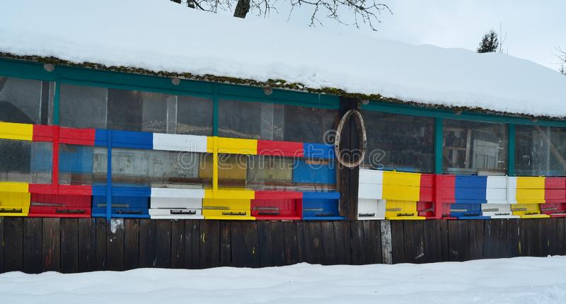 Bee hives in winter, traditional rural beekeeping, South Bohemia. Czech Republic stock photo