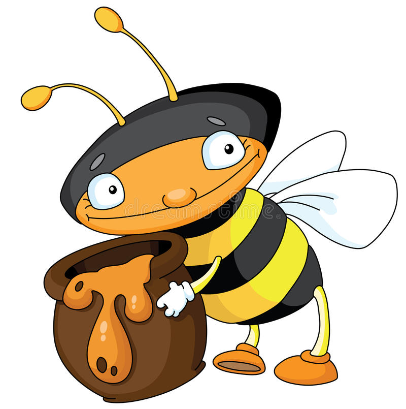 Bee with honey stock illustration