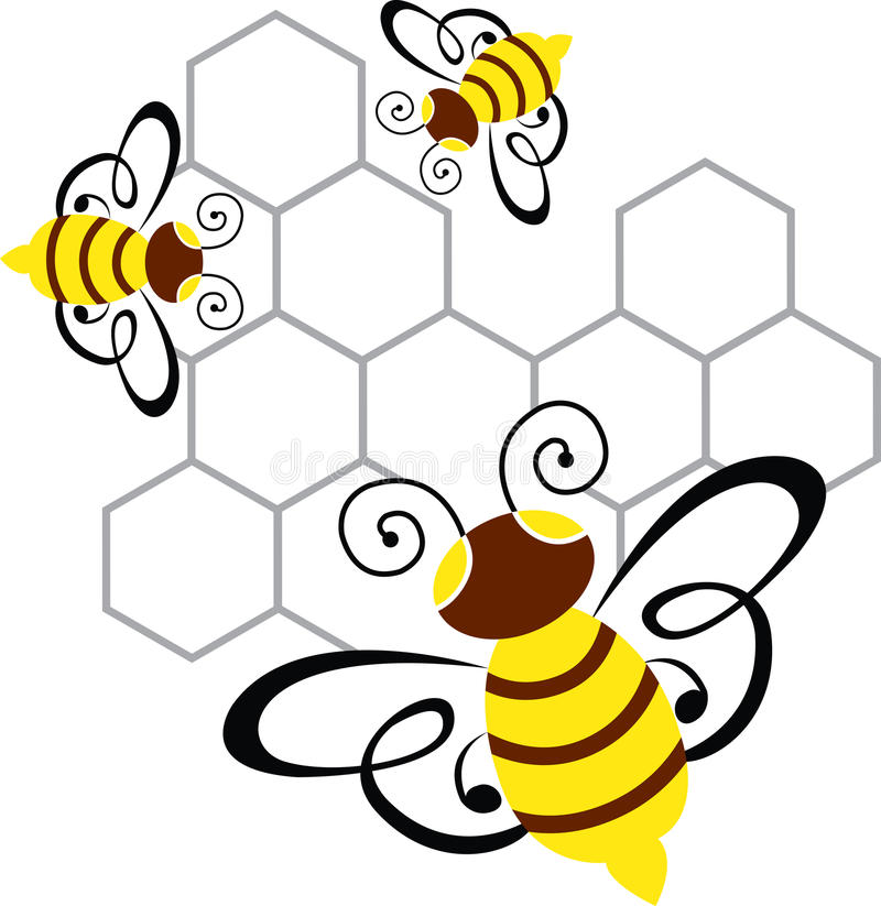 Bee and honey. Illustration art of a bee and honey with isolated background stock illustration