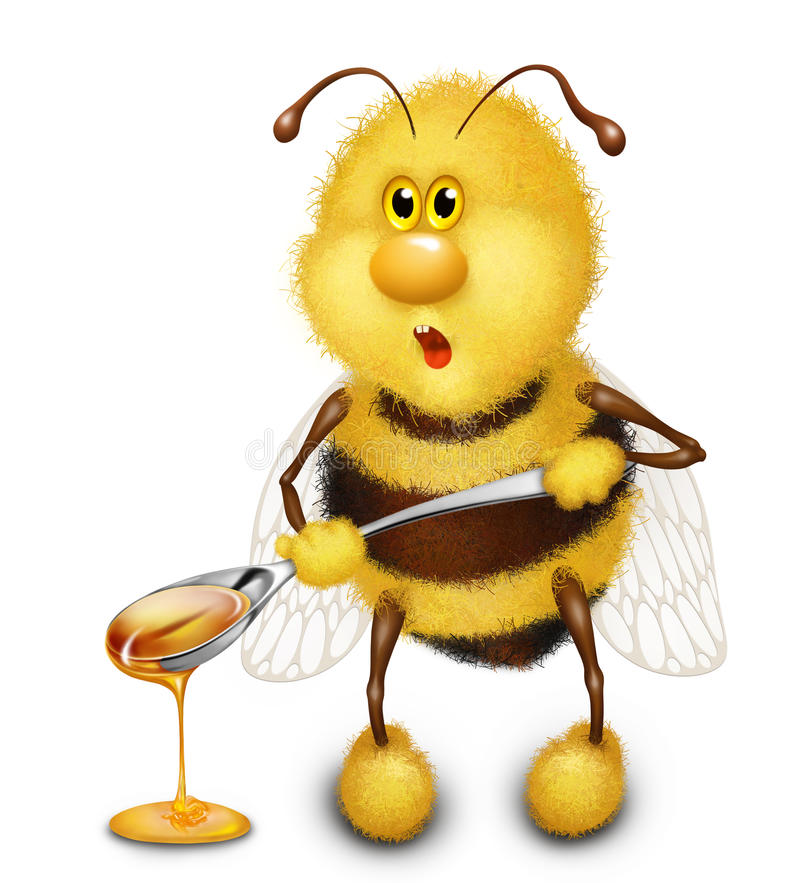 Download Bee with honey stock illustration. Illustration of insect - 38185875