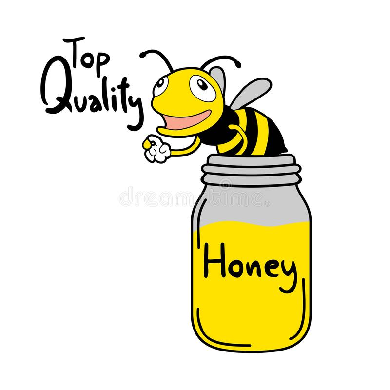 Bee and honey bottle. Creative design of Bee and honey bottle royalty free illustration