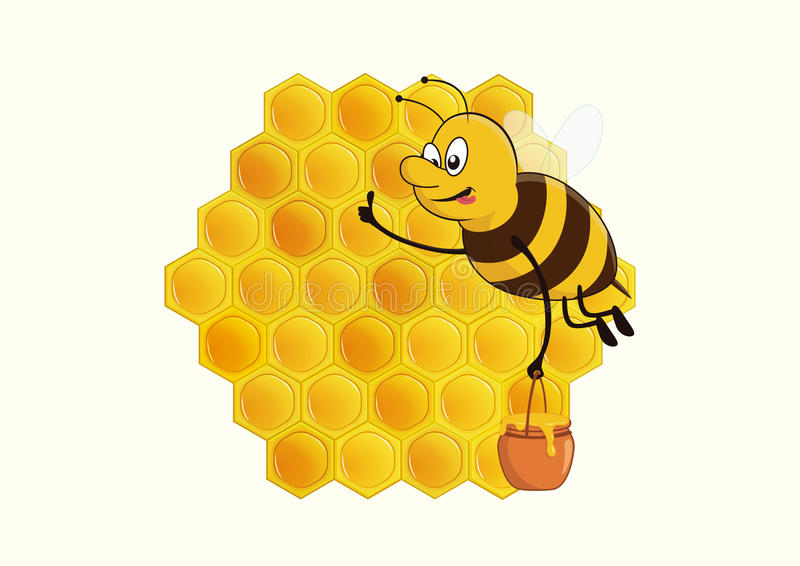 Bee and Honey. Bee brings back wonderful honey to the beehive with thumbs up gesture stock illustration