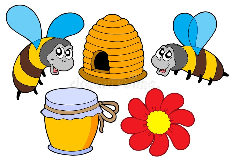 Download Bee and honey collection stock vector. Image of hive, illustration - 6235764