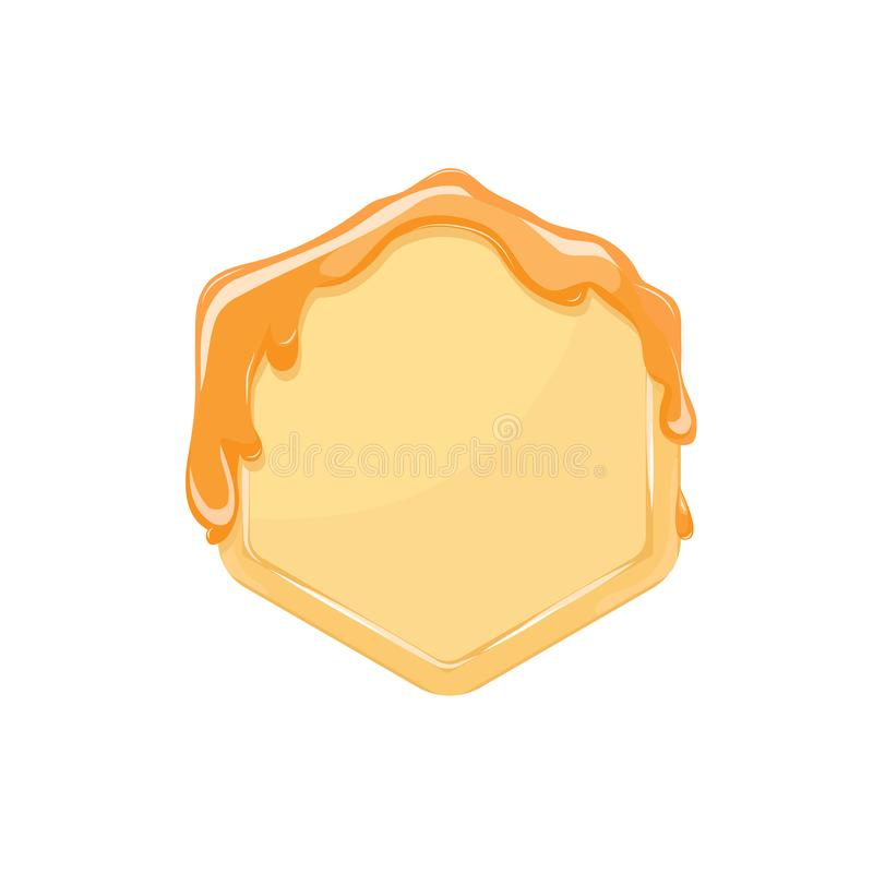 Bee honey comb hexagon with honey. frame background. Vector illustration royalty free illustration