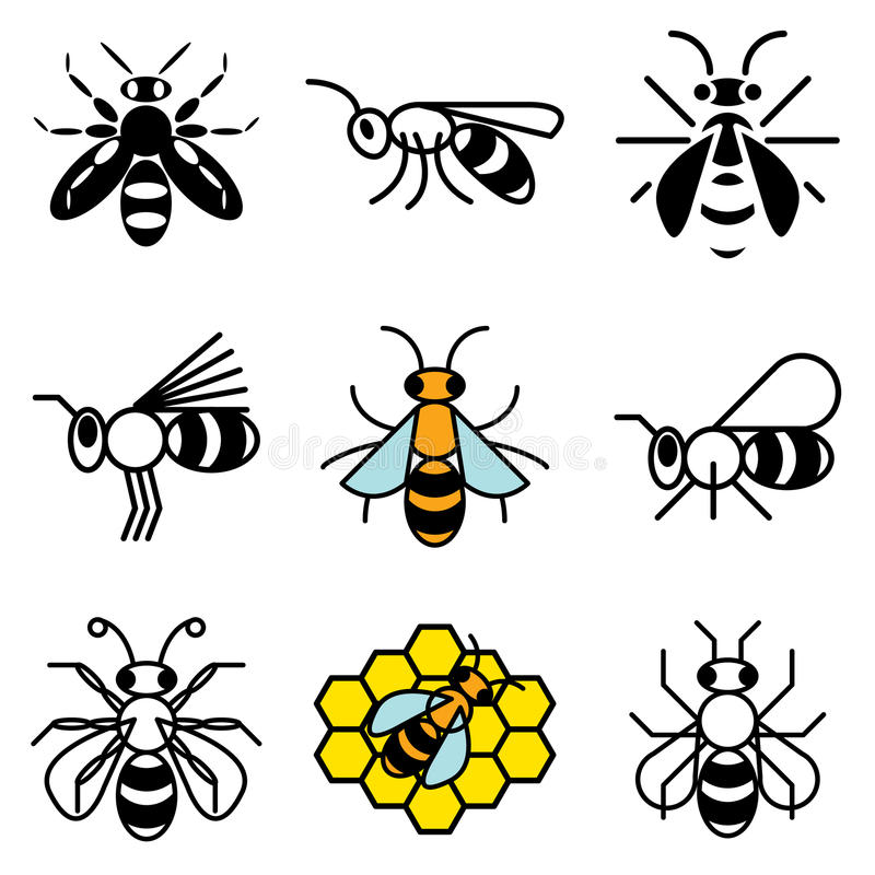 Download Bee and honey icons stock vector. Image of sign, honey - 24108300