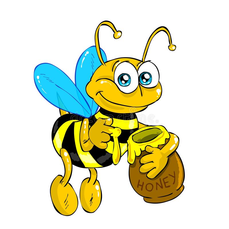 Bee with honey (isolated) stock images