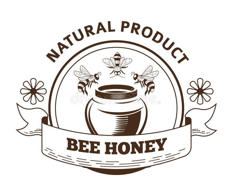 Bee honey natural product label packaging design in vintage style. Bee honey natural product label packaging design. Bees flying above ceramic honey pot and stock illustration
