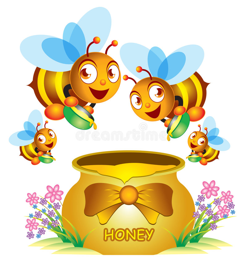 Bee and Honey Pot. A group of bee and the honey pot