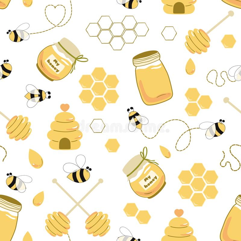 Free Bee Honey Seamless Pattern Honey Yellow Template Beekeeping Background Honey Jar House Spoon Fly Bee Royalty Free Stock Images - 164896659
