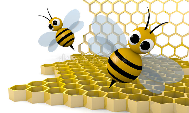 Bee and honeycomb stock illustration