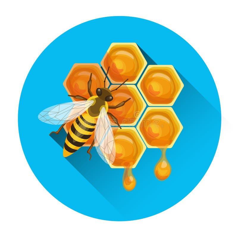 Bee On Honeycomb Apiary Icon. Vector Illustration stock illustration