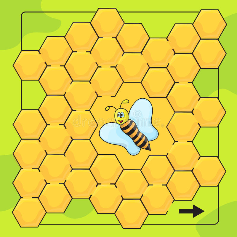 Bee and honeycomb game for Preschool Children. Help bee to walkthrough labyrinth royalty free illustration