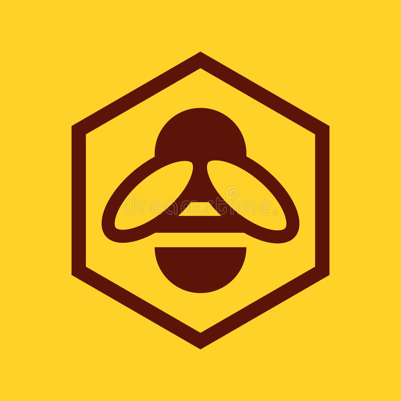 Bee and honeycomb icon. On yellow background vector illustration