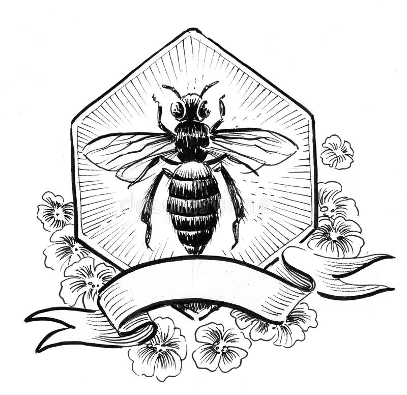 Bee and honeycomb. Ink black and white illustration of a bee and honeycomb royalty free illustration