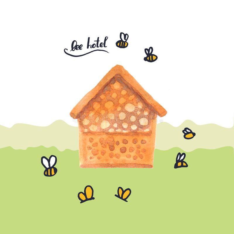 Bee hotel insect bumblebee bee bug house, wooden object produced to mimic the solitary bees natural breeding nests. Watercolor. Hand drawn Orange white green stock illustration