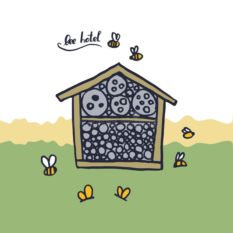 Free Bee Hotel Insect Butterfly Bug House, Wooden Object Produced To Mimic The Solitary Bees Natural Breeding Nests. Doodle By Hand Royalty Free Stock Photography - 173201527