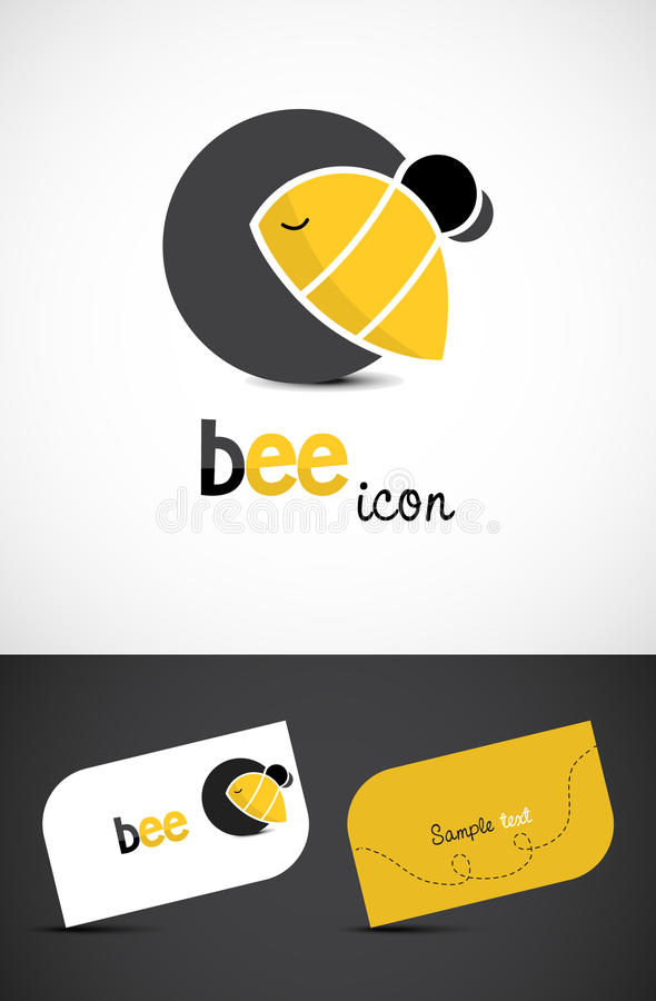 Bee icon. Stylized bee icon and business cards, EPS10 vector royalty free illustration