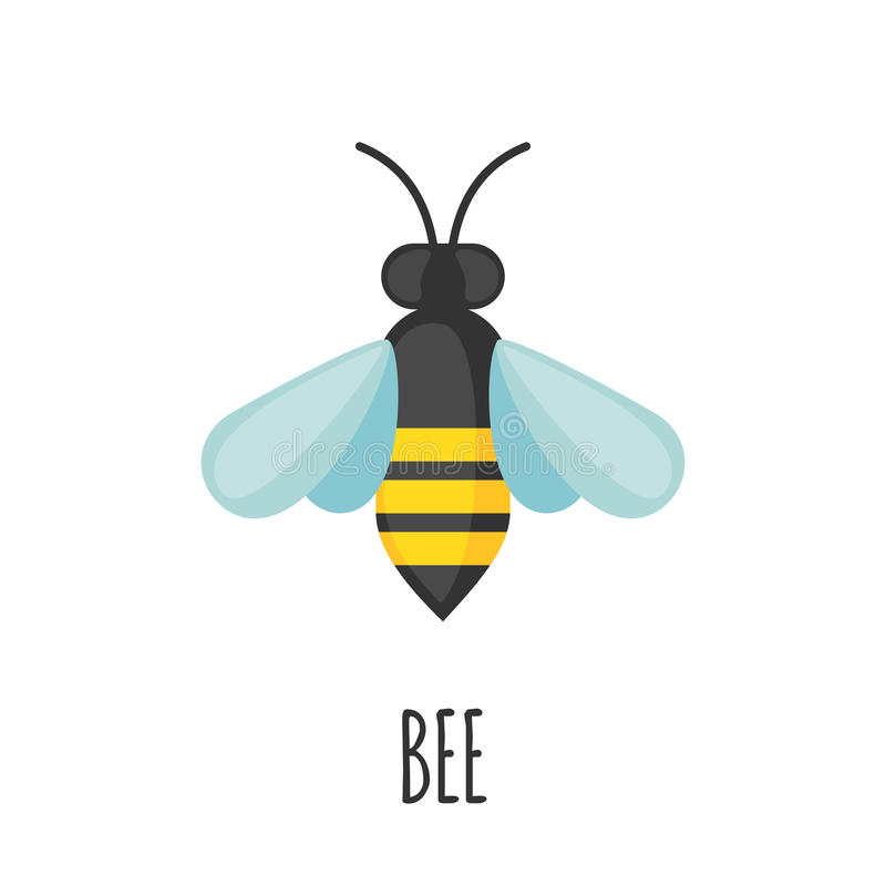Bee icon in flat style. Bee icon in flat style isolated on white background. Vector illustration royalty free illustration