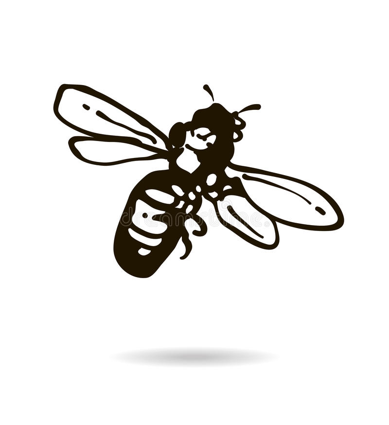 Bee icon isolated on white background royalty free illustration
