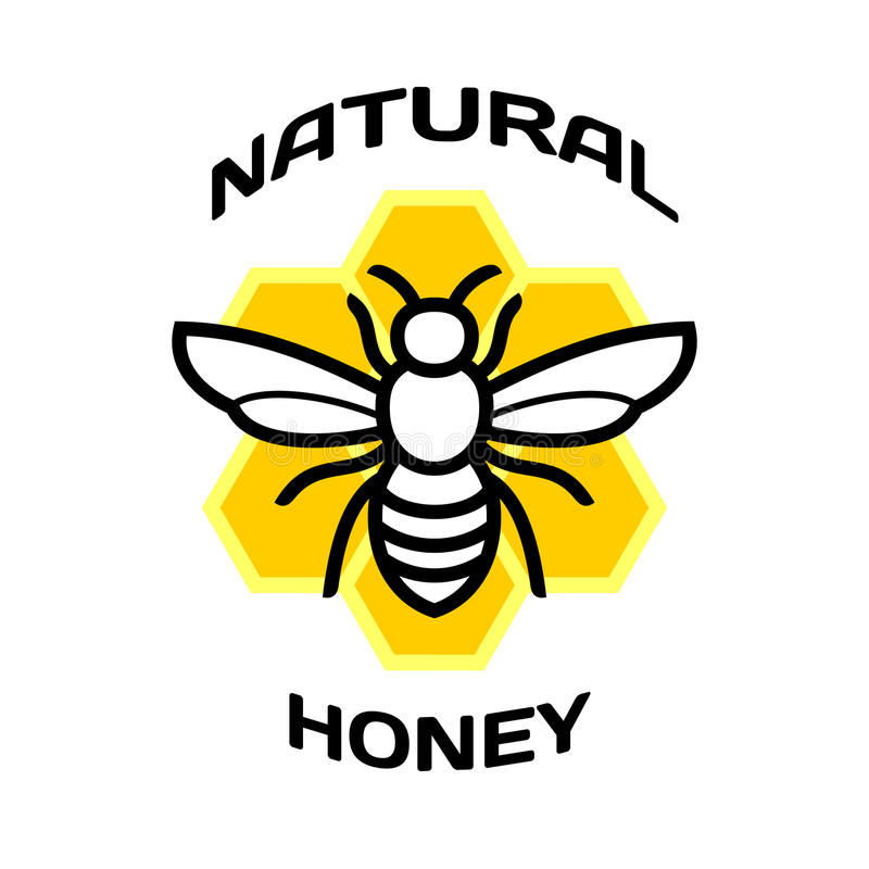 Bee icon. Natural honey package logo. royalty free illustration