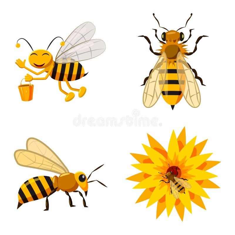 Bee icon set, cartoon style vector illustration