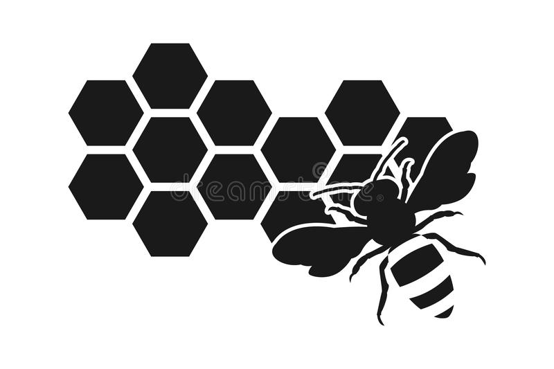 Bee icon or silhouette, honeycomb. Eps 10 vector bee, honey, honeycomb vector illustration