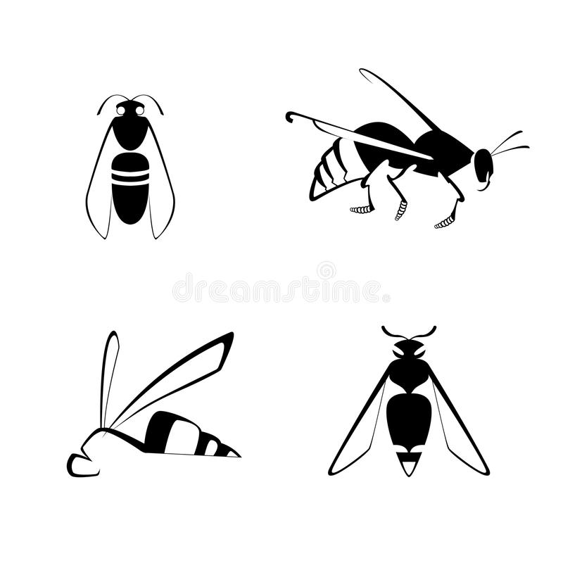Bee icon. Vector black white bee icon set stock illustration