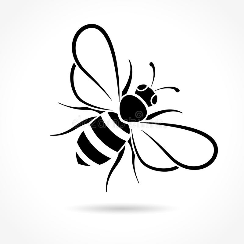 Bee icon on white background. Illustration of bee icon on white background royalty free illustration
